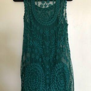 Emerald green mini dress with slip